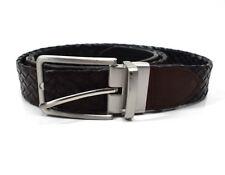 Cinturón Reversible para Hombre Cuero Trenzado Negro/Marrón Talla 34