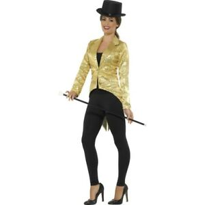 LADY TUXEDO SEQUIN TAILCOAT JACKET CIRCUS RINGMASTER COSTUME CABARET CHAPLIN
