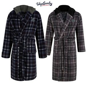 Mens Tokyo Laundry Fleece Hooded Check Dressing Gown Thick Soft Luxury Bath Robe