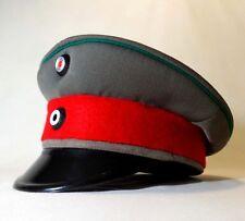 VINTAGE EAST GERMAN MILITARY/POLICE WOOL HAT, W/RED BAND, GREY BODY, BLACK VISOR