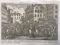 Révolution Française 1792 Événement de Septembre Rare Gravure Révolte à Paris