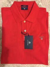 BNWT Camisa Polo De Hombre GANT Medio De Algodón Manga Corta Rojo RRP £ 95