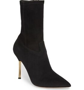 New In Box Valentino Twisteel Black Suede Pointed Toe Booties 38.5/8.5 $1245.00