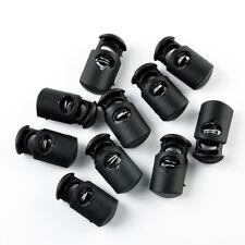 10Pcs Black Plastic Toggle Spring Clasp Stop Single Hole String Cord Locks Tools