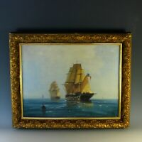 Oil on Canvas Painting of French Frigates by James B. Northon