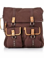 BODHI AUTHENTIC $299 BROWN Army Canvas Leather TRIM LAPOP CASE BAG BACKPACK NWT