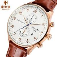 HOLUNS 50m Water Resistant Genuine Leather Band Date Display Men Wrist Watch