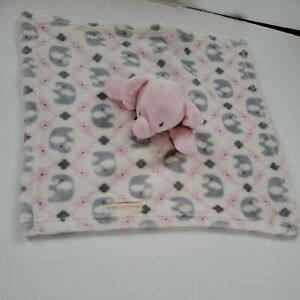 Blankets and Beyond Pink Gray Elephants Flowers Baby Girl Security Blanket Lovey