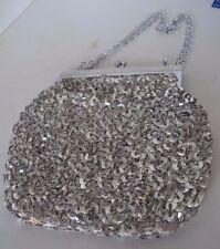 Vintage Silver Tone Beaded Sequin Chain Purse Evening Bag Hong Kong