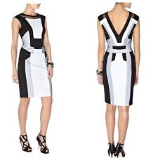 Karen Millen Black White Graphic Colourblock Panelled Cocktail Pencil Dress 10