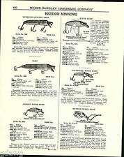 1943 ADVERT Heddon Fishing Lures Minnows River Runt Punkin Seed Lucky 13 Jointed