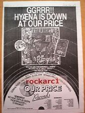 SIOUXSIE & Banshees Hyaena (Our Price)1984 Poster size Press ADVERT 16x12 inches