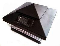 12 Pack  Solar Post Cap Deck Fence Lights Black Colored 4x4 PVC Vinyl Wood Post