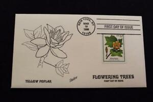 HAND PAINTED COVER 1998 1ST DAY ISSUE FLOWERING TREES YELLOW POPLAR (2307)