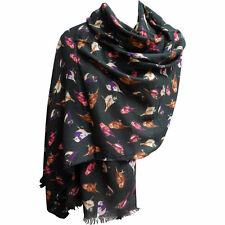 "Lightweight Bird Design Trendy Black Fashion Long Scarf (28"" x 70"")"