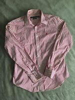 Women's Pinstripe Ralph Lauren Shirt - Polo Sport - Pink - Size 10