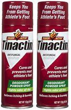 2 Pack Tinactin Antifungal Deodorant Powder Spray for Athlete's Foot 4.6oz Each