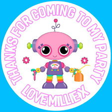 24 PERSONALISED PINK ROBOT GIRL GLOSS STICKERS FOR PARTY BAGS AND SWEET CONES