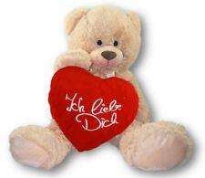 XXL Teddy Bär 100 cm mit Herzkissen Ich liebe Dich 39 x 34 cm Stick Weiss