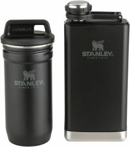 Stanley Adventure Stainless Steel 2oz Shots and 8oz Flask Set: Matte Black