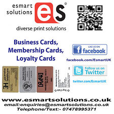 50 x Printed PVC Business or Membership Cards (White/Copper/Silver/Gold)