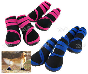 Protección Botas impermeables protectoras Botines RainBoots Dog Pet Shoes Pink /