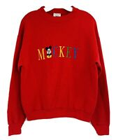 Vintage Mickey Mouse Red Embroidered Disney Spellout Crewneck Sweatshirt