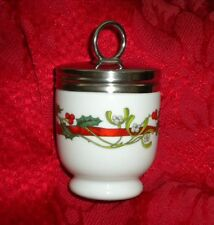 NEW SINGLE EGG CODDLER, POT,JAR, CHRISTMAS HOLLY RIBBON ROYAL WORCESTER, LOVELY