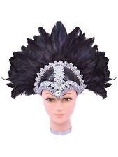 Black Braiding Feather Helmet Vegas Show Girl Drag Queen Carnival Fancy Dress