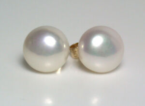 8.5-9mm AAA quality white freshwater pearl & 9 carat yellow gold earrings