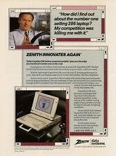 1989 Zenith Data Systems AD Supers Port 286 Laptop Computer Vintage Print Advert