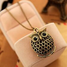 Long Ancient Bronze Coloured Hollow Perching Owl Necklace/Size 72cm/ 28 inch