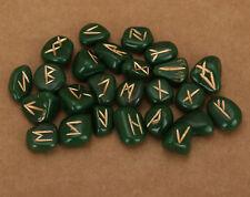 Green Resin Rune Set Alphabet Runic Albhabate Runes 25 Pieces 10mm