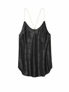 Victoria's Secret Satin Racerback Cami Pajama Top Black New Women's XS S M Logo