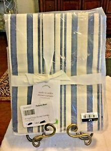 Pottery Barn Antique Stripe Shower Curtain ~ 72 x 72 ~ Blue