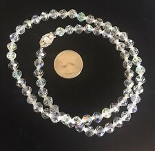 "Vintage Choker Beads Clear Faceted 22"" Aurora Borealis Swarovski Necklace"