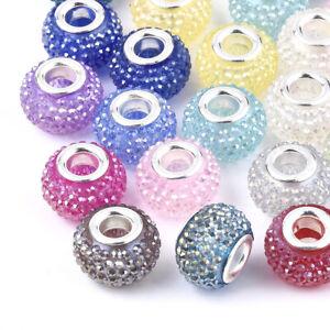 100pcs Resin Rhinestone European Large Hole Rondelle Beads Loose Spacer 14x10mm