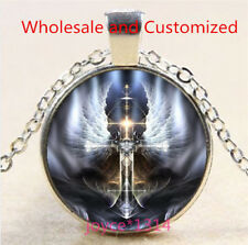 Angel Cross Cabochon Silver/Bronze/Black/Gold Glass Chain Pendant Necklace #5265