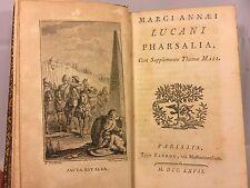 Antique Book Marci Annaei Lucani Pharsalia 1767 Luca Nus
