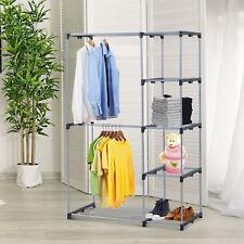 Closet Organizer Storage Rack Portable Wardrobe Garment Hanger Double Rod Shelf