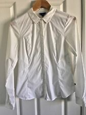 Cue Button-Down Tailored Shirt, White, Size 08