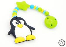 ♥ Beisskette aus Silikon ★ Pinguin/Stern in blau/gelb/grün - Silikonkette ♥