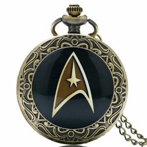 Retro Star Trek Movie Series Student Men Quartz Pocket Watch Necklace Chain