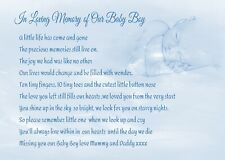A* Child/Baby loving memory anniversary Graveside Card  Memorial Keepsake no b24