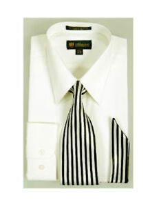 Men's Dress Shirt with Matching Tie And Handkerchief Set 8 Colors Size 15~20 #21