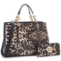 Dasein Women Handbags Faux Leather Satchel Tote Shoulder Bag Purse 2Pcs Set