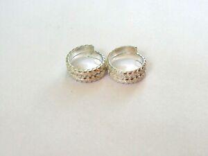 Handmade Sterling Silver Toe Ring Pair Indian Bichiya Size Adjustable TSP 304