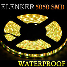 5M/16.4ft Amber Yellow 5050 SMD 300 LED Strip Light Flexible IP65 Waterproof 12V