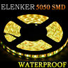 5M/16.4ft Amber Yellow 5050 SMD 300 LED Strip Light Flexible IP65 Waterproof 12V