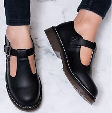 LADIES WOMENS T-STRAP BUCKLE CHUNKY SOLE BLACK SCHOOL WORK FLATFROM SHOES SIZE